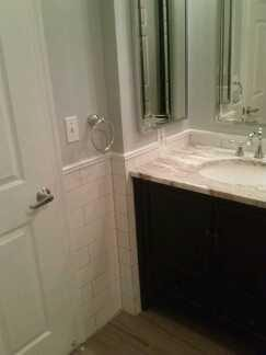 Bath remodeling chair rail subway tile in Federal Hill Baltimore