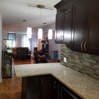 Hampden MD Kitchen Remodeling with small island and overhand