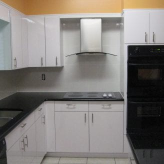 Lutherville MD Contemporary white kitchen Remodel with cook top