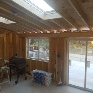 Baltimore Addition Sunroom framing proccess