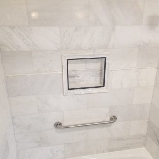 Bath remodeling with Marble cast iron tub in Baltimore MD