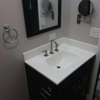 Dark chery cabinet Bath remodeling in Canton Baltimore