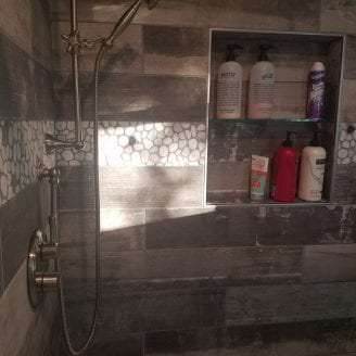 Shower inset glass shelves Bath Shower remodeling Dundalk MD