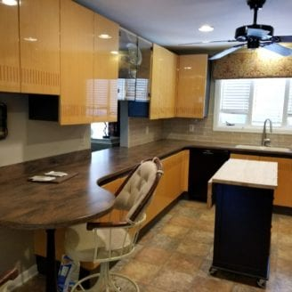 Corian counter overhung top installation
