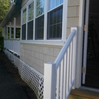 Steps and windows sunroom installation Lutherville Timonium MD By Trademark Construction LLC