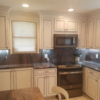 White cabinets remodel with glazed finish in Dundalk