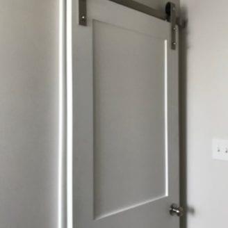 Barn door small bath remodel
