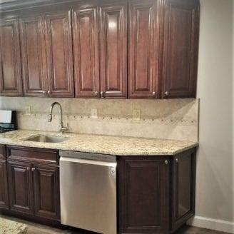 Nice ceramic backsplash for small kitchen