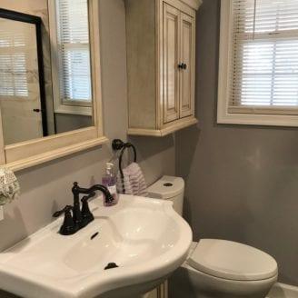 Small bath remodel grey colors
