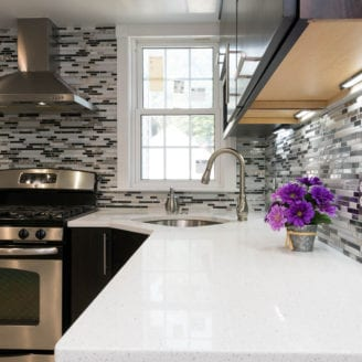 Backsplash and quartz Counter top