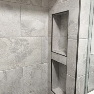 Wall inset shelves in master bath