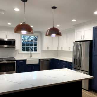 Blue cabinets kitchen remodeling baltimore